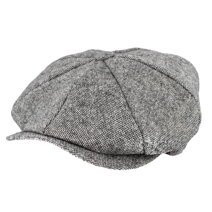 Newsboy style cap in salt and pepper grey fabric
