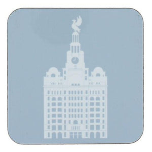 Square coaster with rounded edges showing an illustration of the liver building in white on a light blue background