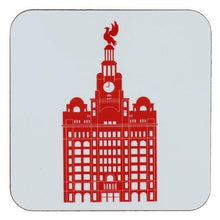 Load image into Gallery viewer, Square coaster with rounded edges showing an illustration of the liver building in red on a white background