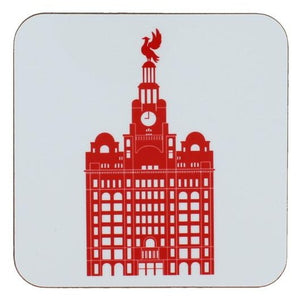 Square coaster with rounded edges showing an illustration of the liver building in red on a white background