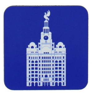 Square coaster with rounded edges showing an illustration of the liver building in white on a blue background