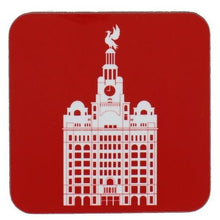 Load image into Gallery viewer, Square coaster with rounded edges showing an illustration of the liver building in white on a red background