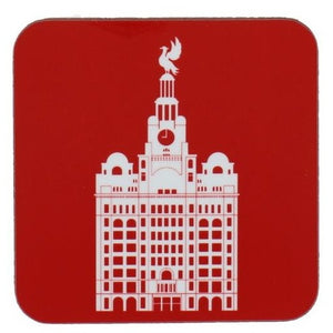 Square coaster with rounded edges showing an illustration of the liver building in white on a red background