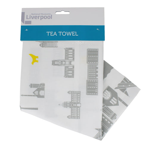 Set of two tea towels, each illustrated with Liverpool's skyline