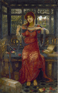 Oh Swallow, Swallow shows a woman in a red dress sat in a room overlooking a garden, surrounded by rich trinkets.