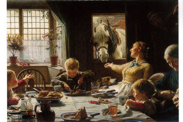 Print of One of the Family painting, showing a family eating at the kitchen table and feeding a cart horse which leans in through the open top half of the door