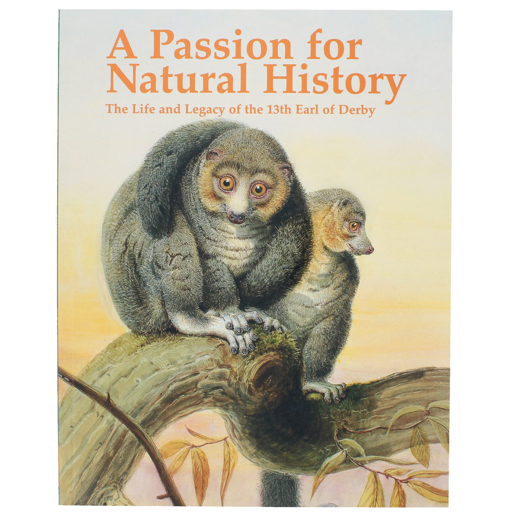 Front cover of A Passion for Natural History, featuring a painting of two lemurs sat on a branch.