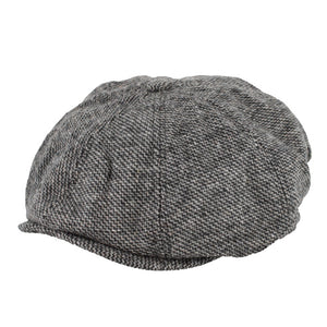 Peaky stud cap in grey tweed