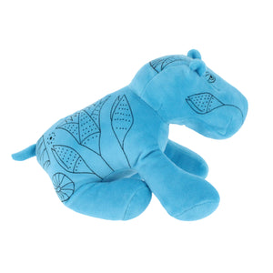 Plush stuffed hippopotamus toy, in bright blue with Papyrus plant illustrations embroidered on.