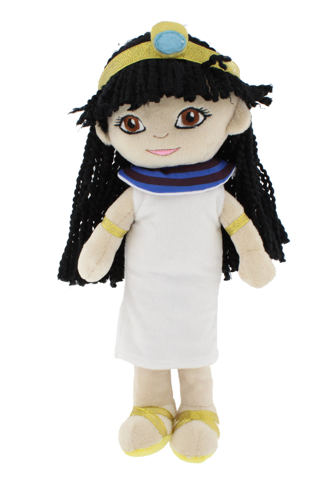 Plush stuffed doll, a girl dressed in ancient Egyptian clothing with a white dress and a golden crown.