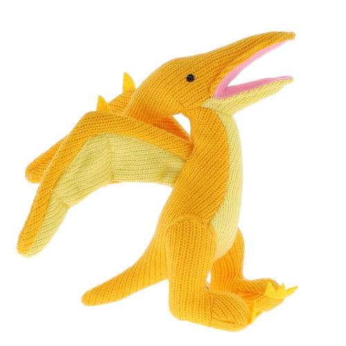 Plush knitted pterosaur dinosaur rattle in yellow