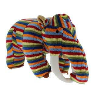 Plush knitted mammoth toy in multi-coloured stripes