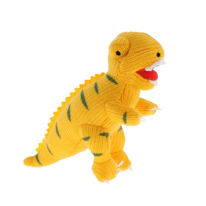 Plush knitted T. Rex toy in yellow with green stripes