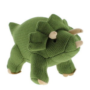 Plush knitted green triceratops toy
