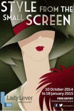Poster advertising Style from the Small Screen exhibition featuring a stylised illustration of a flapper.