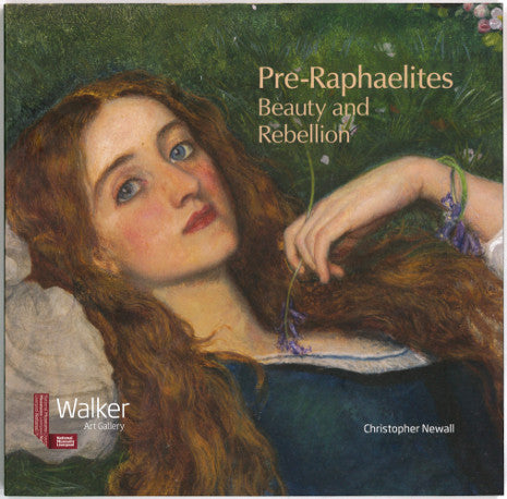 Front cover of Pre-Raphaelites, Beauty and Rebellion featuring a detail of a painting showing a red-headed woman lying and gazing beyond the painter.