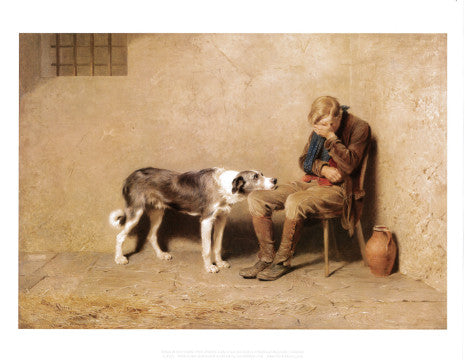 Print of a painting, showing a dog resting its chin on a boy sat with his head in his hands.