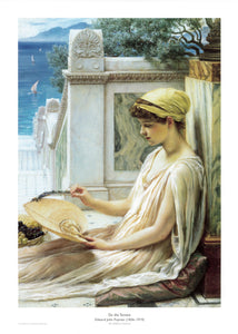 On the Terrace depicts a woman sat in the sunshine on a marble terrace.
