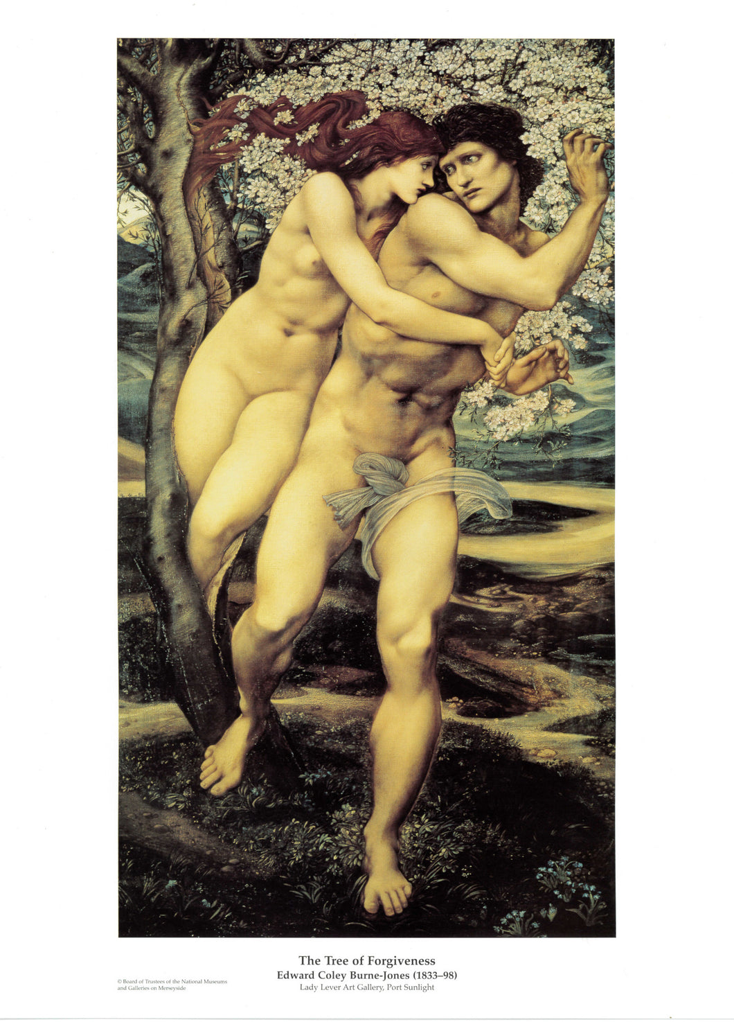 The Tree of Forgiveness print shows a nude man and a woman embracing against a tree.