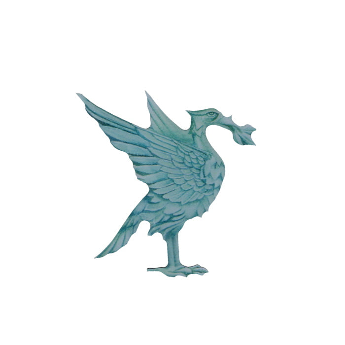 Lapel badge showing a blue-green liver bird