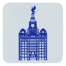 Load image into Gallery viewer, Square coaster with rounded edges showing an illustration of the liver building in blue on a white background