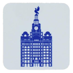 Square coaster with rounded edges showing an illustration of the liver building in blue on a white background