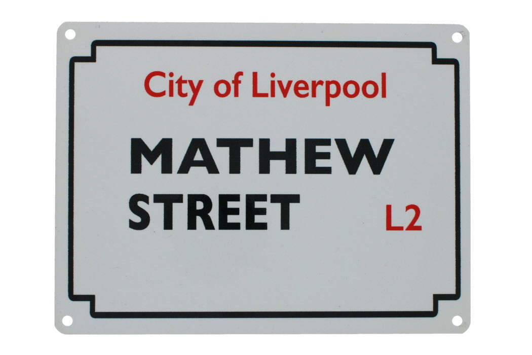 Metal street sign for Mathew street, with the postcode L2 and 'city of liverpool' also visible.