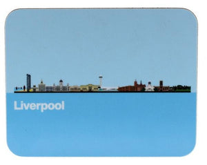 Rectangular coaster with rounded corners, showing an illustration of Liverpool's skyline.