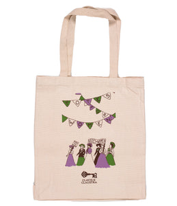 Long handled shopping tote bag with an illustration of suffragette's marching on it.