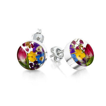 Pair of silver stud earrings with mixed colourful flowers set in resin.