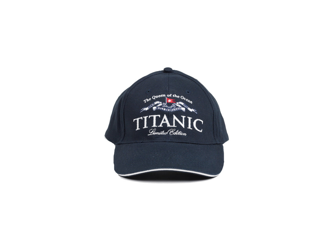 Front view of a navy blue baseball cap with some text about the Titanic on the front with the name of the ship as the focus.