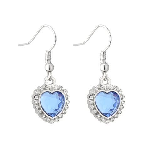 Pair of silver drop earrings each featuring a replica of the 'heart of the ocean' pendant.