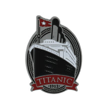 Load image into Gallery viewer, Metal pin showing the Titanic's bow on an oval background.