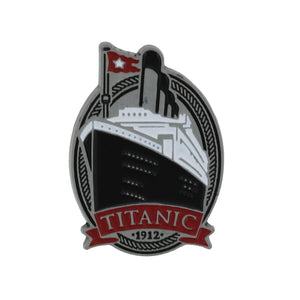 Metal pin showing the Titanic's bow on an oval background.