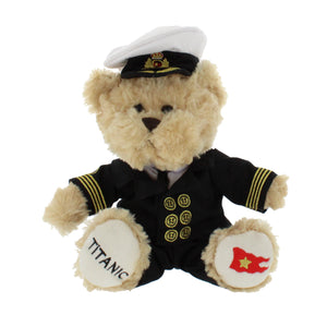 Small teddy bear, sat up with out stretched arms wearing a Titanic officers uniform