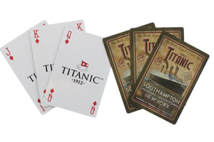 Two sets of three cards, each fanned out, one set showing the front of the cards and one set showing the back.