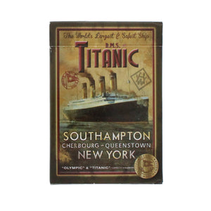 Box of Titanic playing cards showing an illustration of the Titanic sailing
