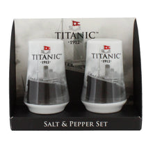 Load image into Gallery viewer, Pair of identical ceramic salt and pepper shakers, each with a photograph of the Titanic on.