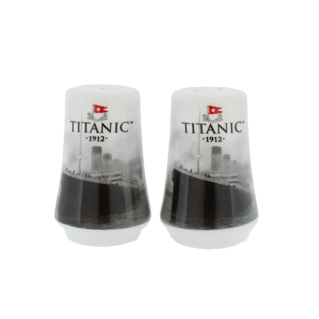 Pair of identical ceramic salt and pepper shakers, each with a photograph of the Titanic on.