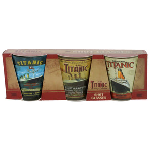 Set of three shot glasses with Titanic illustrations in a box