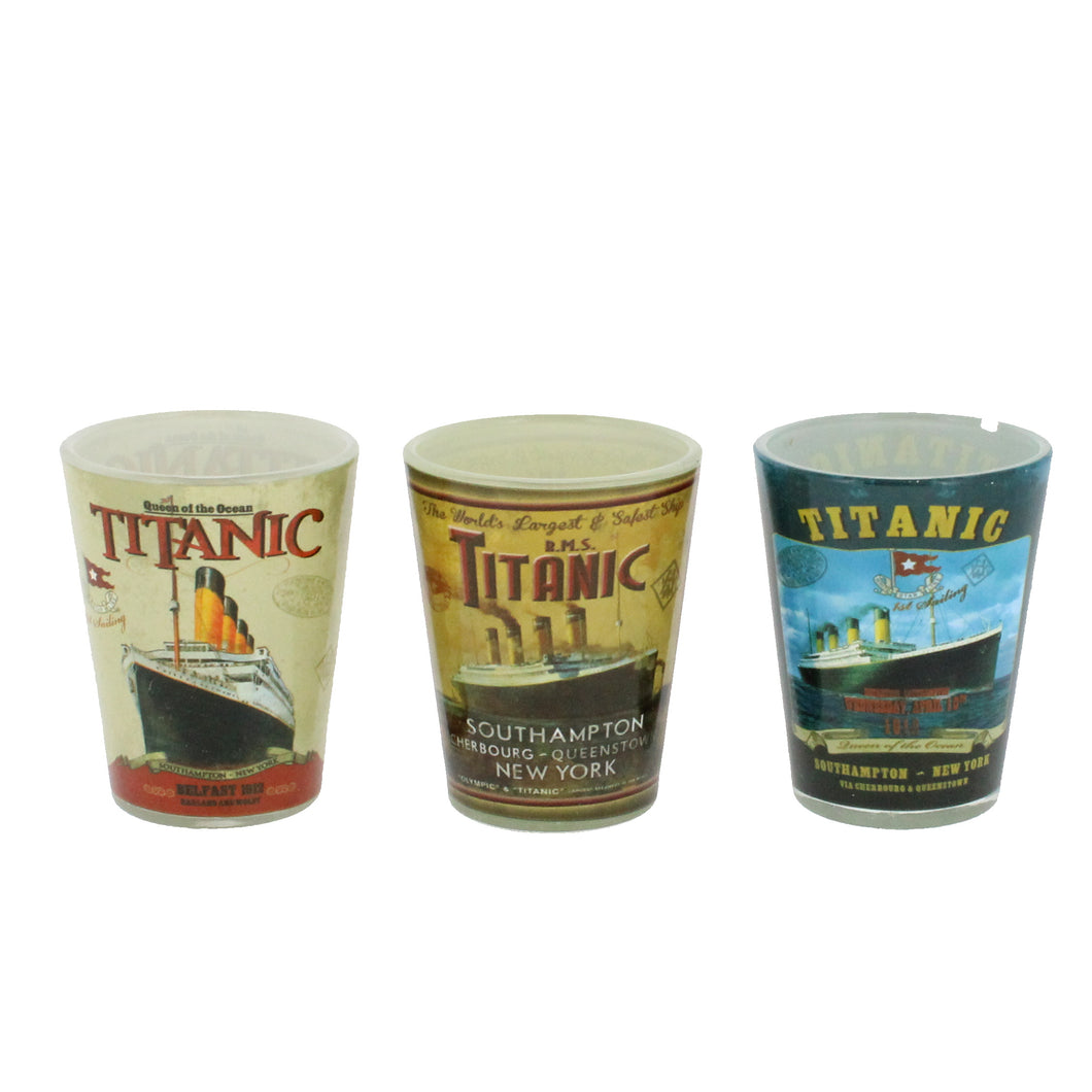 Three shot glasses, each showing a vintage Titanic advertisement.