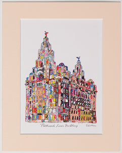 Print showing the Liver building in Tula Moon's distinctive colourful patchwork style.