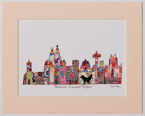 Print showing Liverpool's skyline in Tula Moon's distinctive colourful patchwork style.