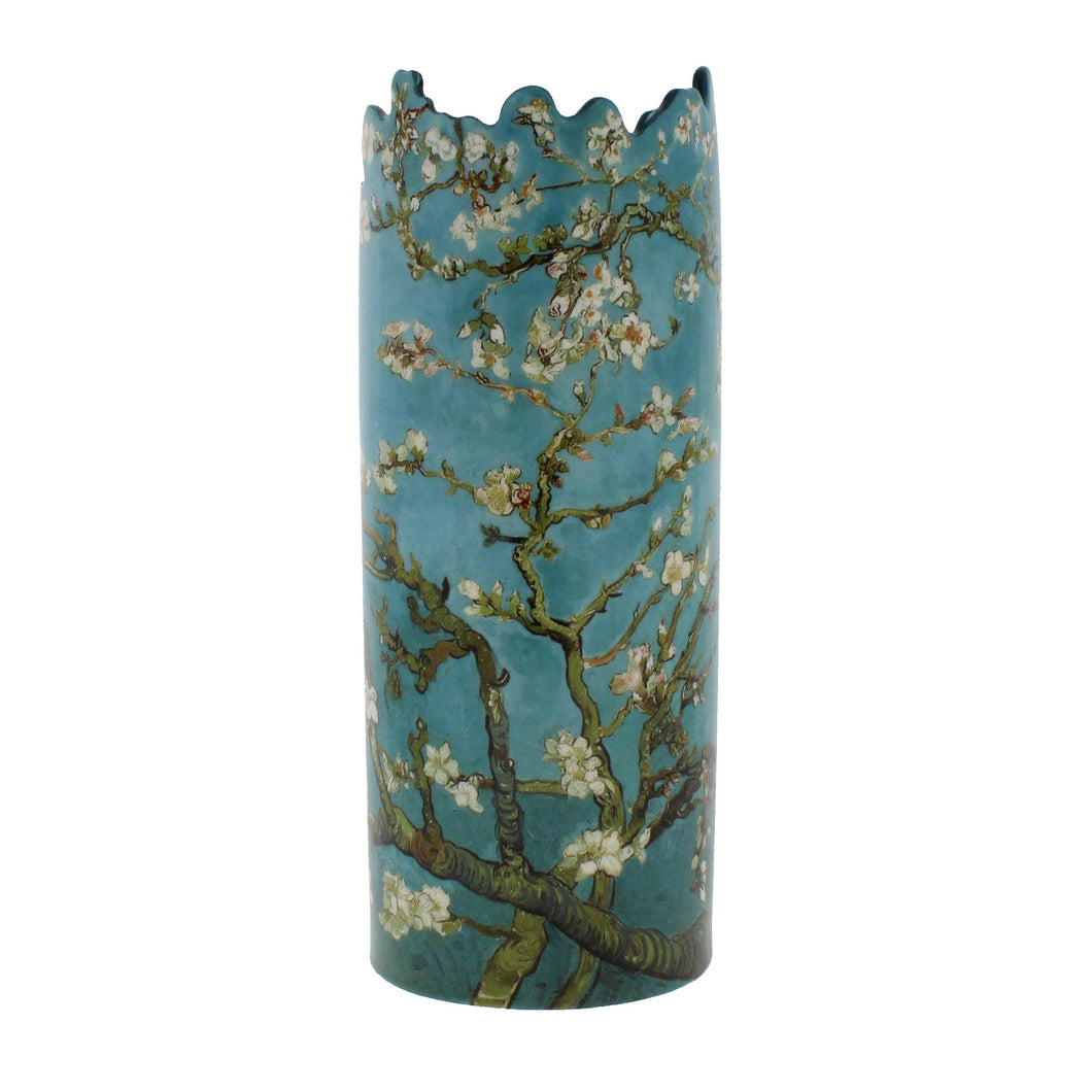 Circular vase with asymmetric top, with a reproduction of Van Gogh's painting of Almond blossom.