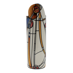 Cylindrical vase with asymmetric top, showing a reproduction Mackintosh's Rose painting.