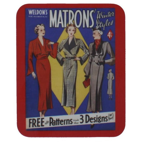 Square coaster with rounded edges, showing a reproduction magazine cover, showing several illustrations of fashionably dressed women