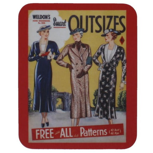 A rectangular coaster with rounded corners, showing a reproduced magazine cover, with illustrations of three different stylishly dressed women