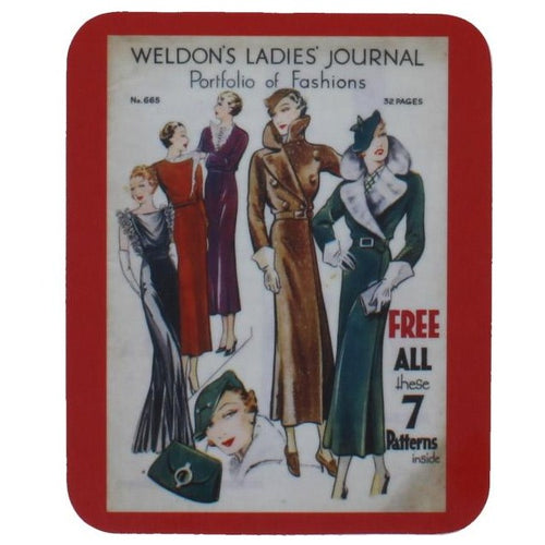 Rectangular coaster with rounded corners, showing a reproduced magazine cover, with several illustrations of stylishly dressed women