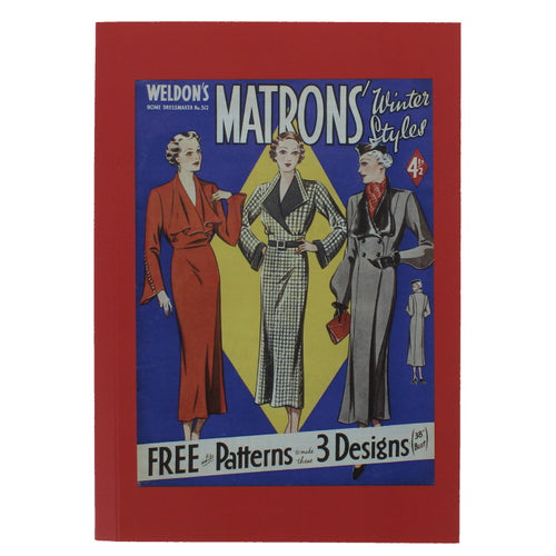 Rectangular notebook with a reproduced magazine cover showing an illustration of three well dressed women