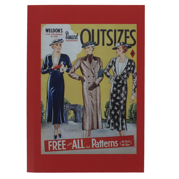 Rectangular notebook with a red border, showing a reproduction magazine cover with three illustrations of women in fashionable dress